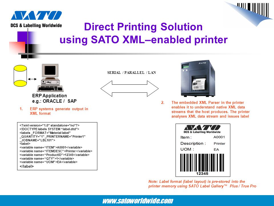Direct Printing Solution using SATO XML–enabled printer