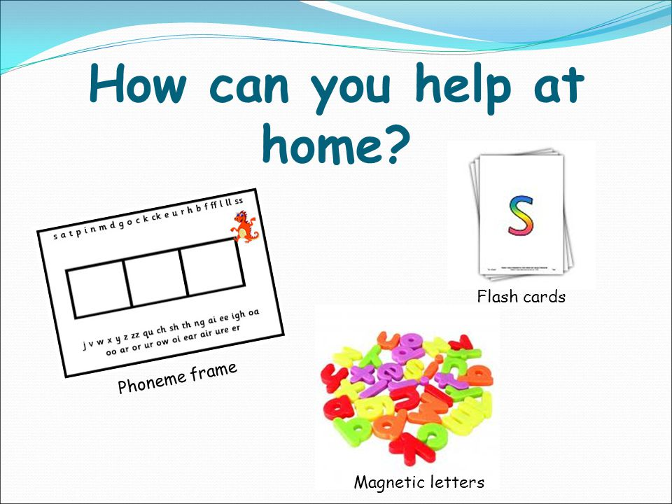 How can you help at home Flash cards Phoneme frame Magnetic letters