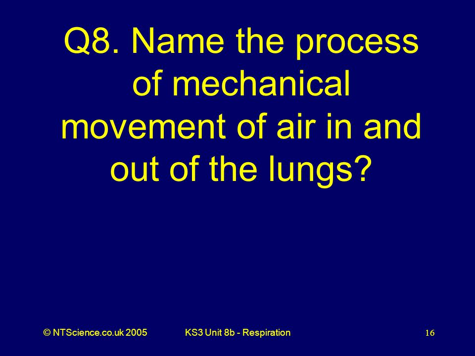 Q8. Name the process of mechanical movement of air in and out of the lungs