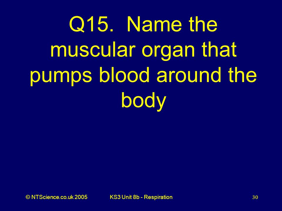 Q15. Name the muscular organ that pumps blood around the body