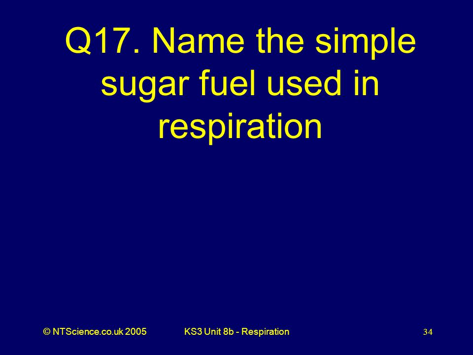 Q17. Name the simple sugar fuel used in respiration