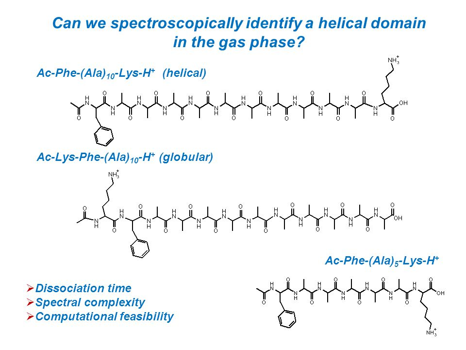 Can we spectroscopically identify a helical domain in the gas phase