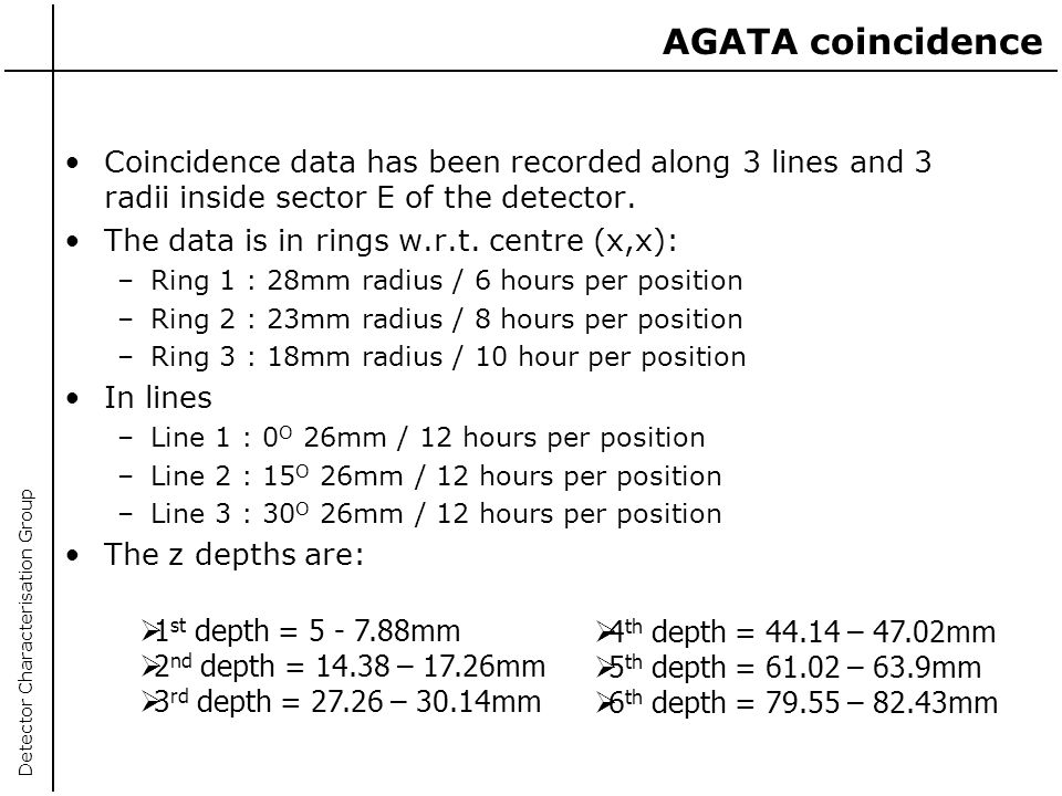 AGATA coincidence Coincidence data has been recorded along 3 lines and 3 radii inside sector E of the detector.