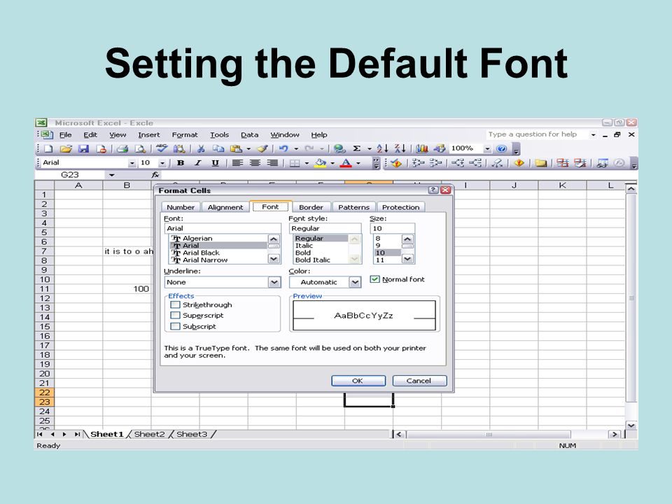 Setting the Default Font