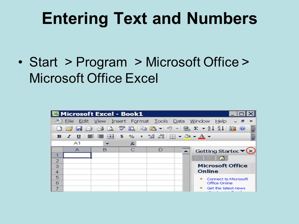 Entering Text and Numbers