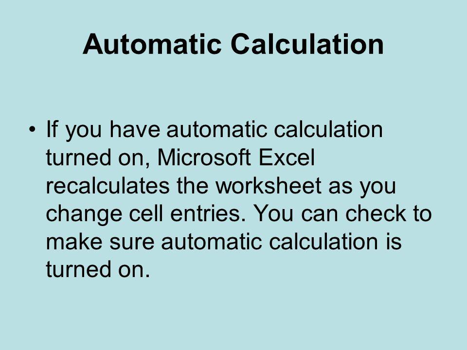Automatic Calculation