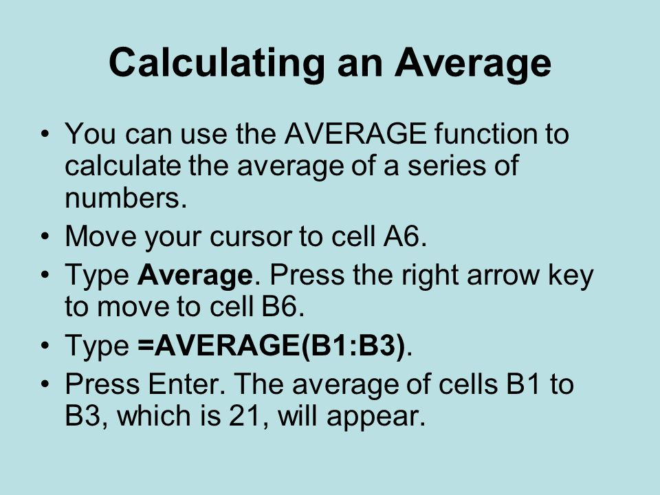 Calculating an Average
