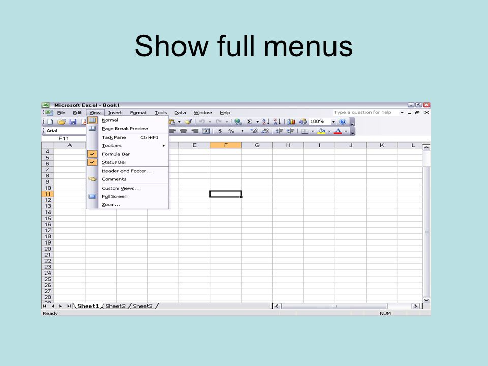 Show full menus