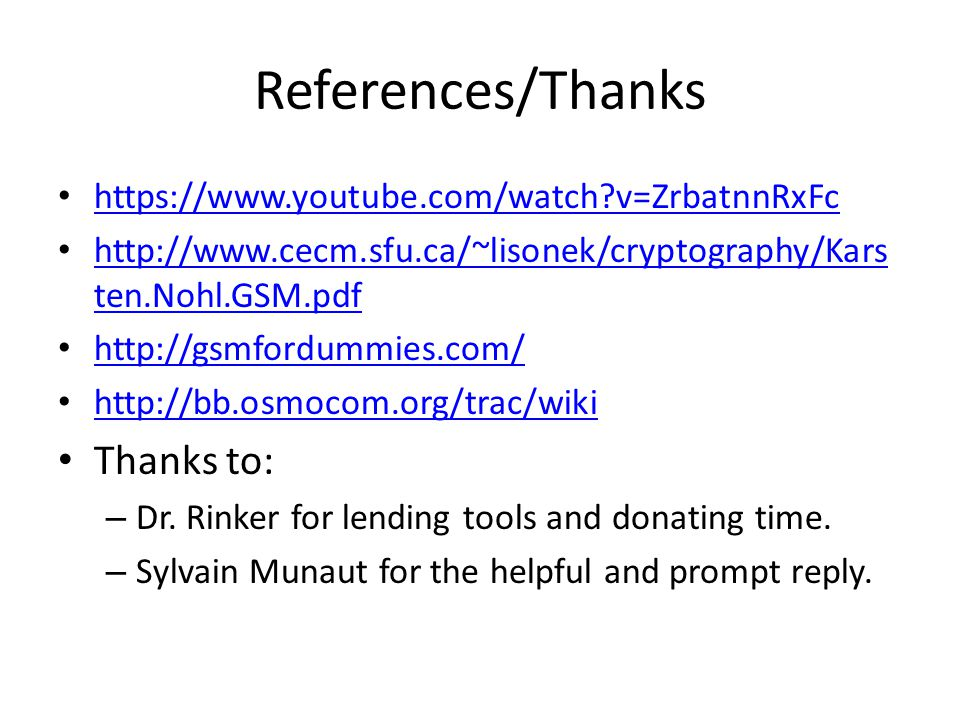 References/Thanks Thanks to: