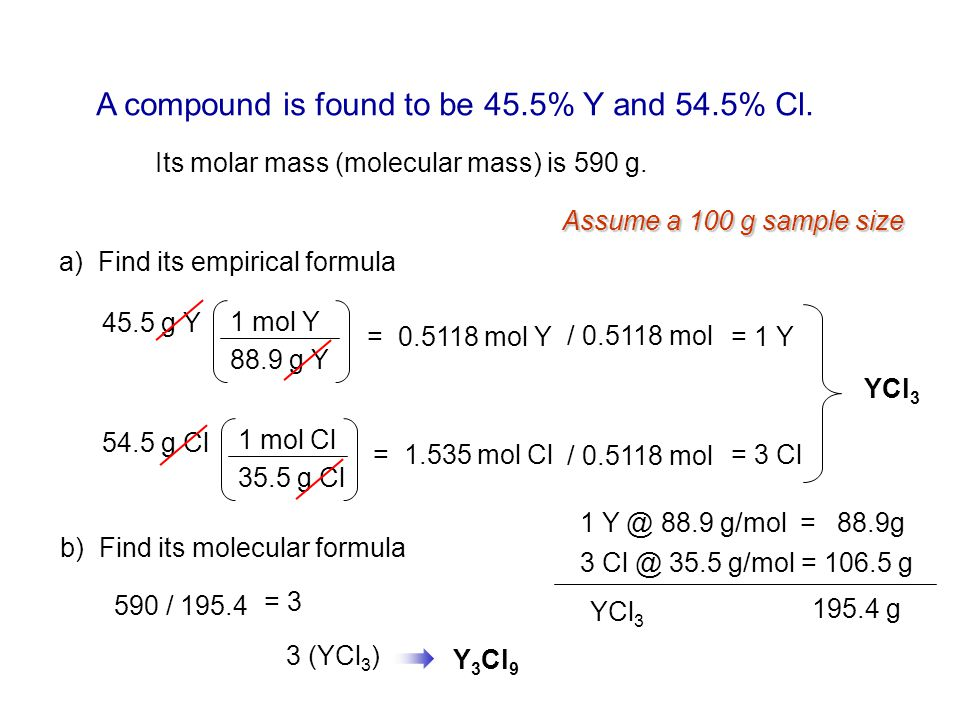 A compound is found to be 45.5% Y and 54.5% Cl.