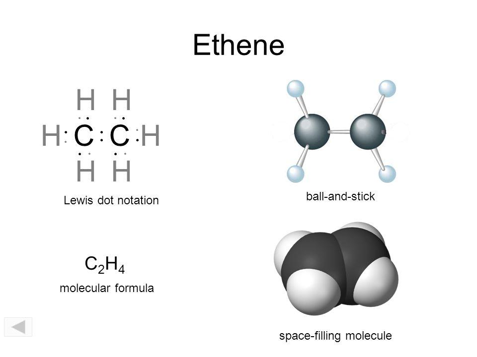 Ethene H H H C C H H H C2H4 ball-and-stick Lewis dot notation