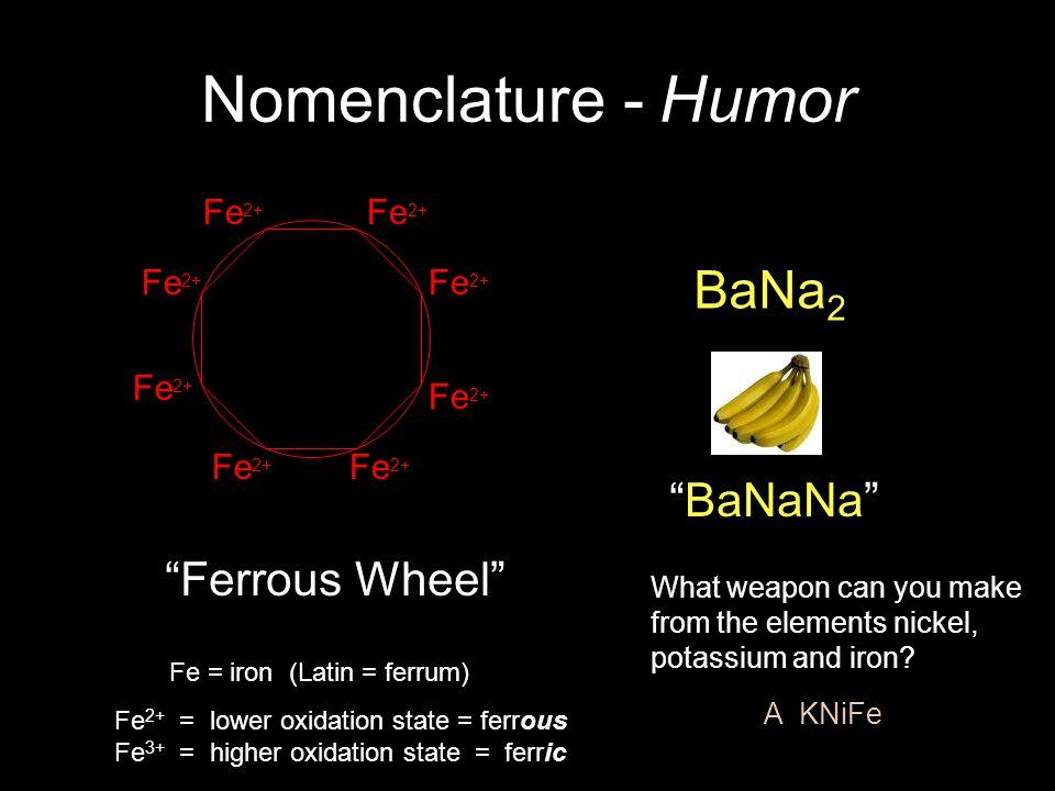 Nomenclature - Humor BaNa2 BaNaNa Ferrous Wheel Fe2+