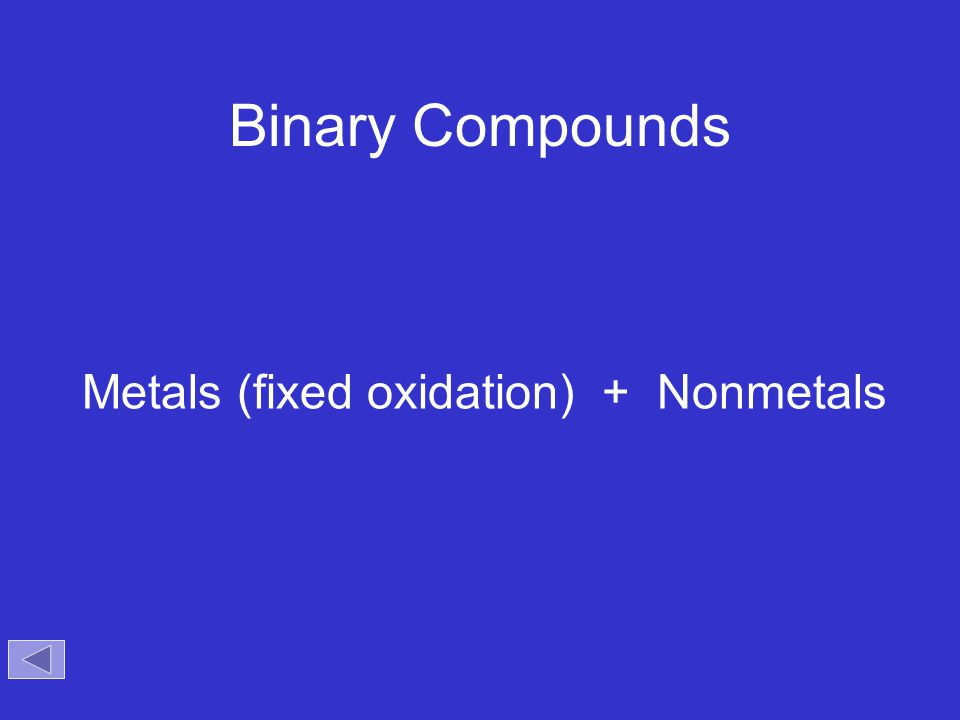 Binary Compounds Metals (fixed oxidation) + Nonmetals Objectives: