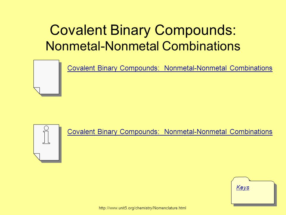 Covalent Binary Compounds: Nonmetal-Nonmetal Combinations