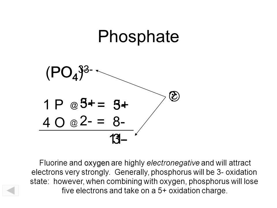 Phosphate (PO4)3- PO43-  1 P = 5+ = 3- 4 O = 8- 11- 3- @ 5+ @ 3-