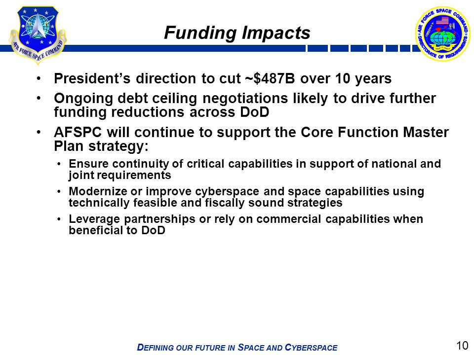 Funding Impacts President's direction to cut ~$487B over 10 years
