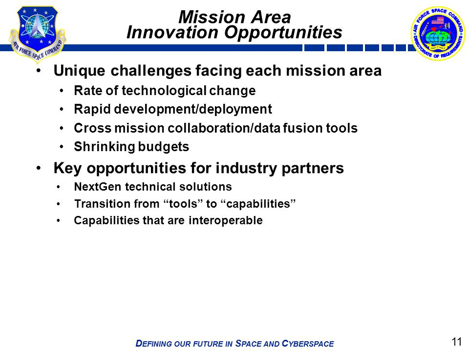 Mission Area Innovation Opportunities