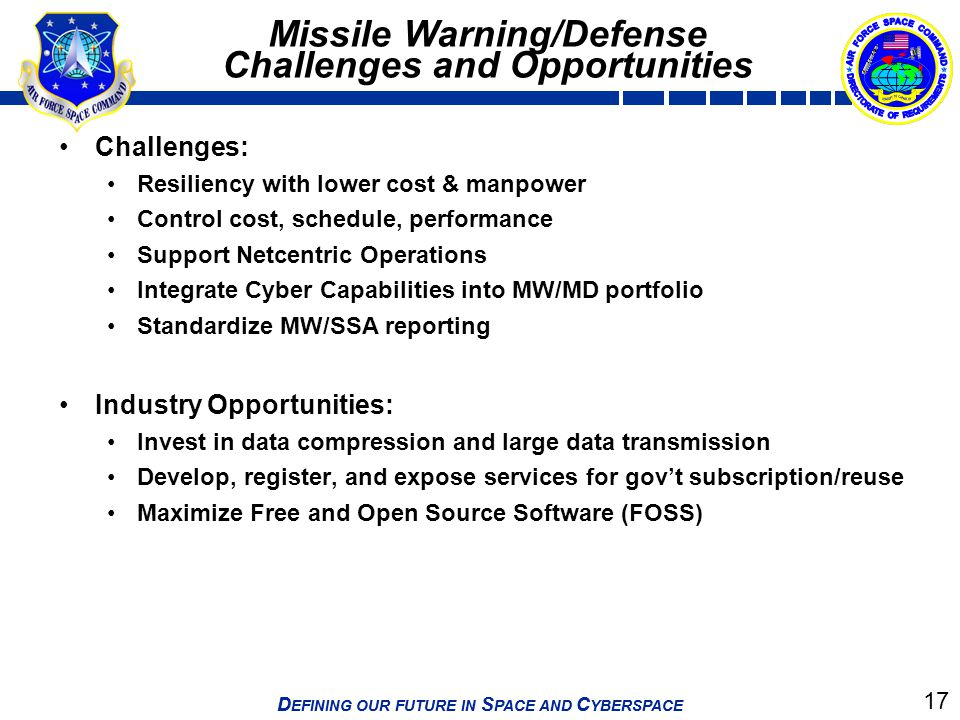 Missile Warning/Defense Challenges and Opportunities