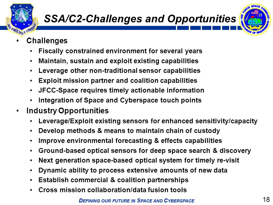 SSA/C2-Challenges and Opportunities