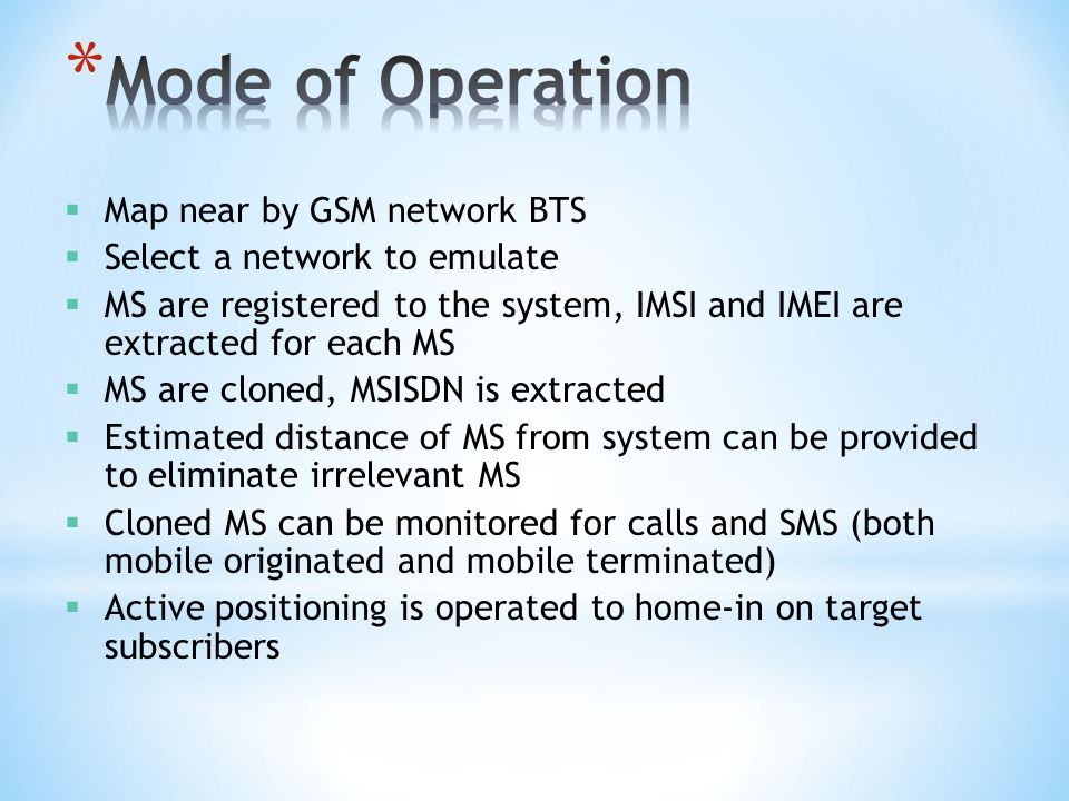 Mode of Operation Map near by GSM network BTS