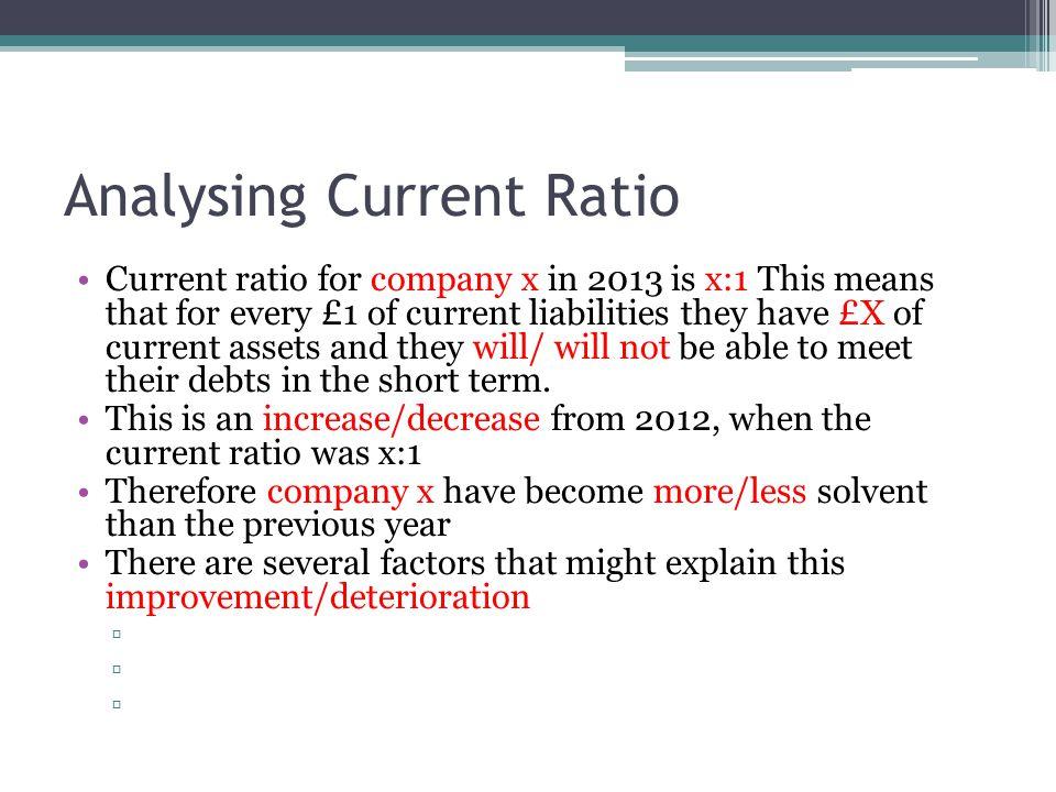 Analysing Current Ratio