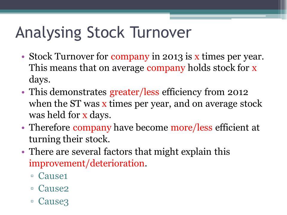 Analysing Stock Turnover