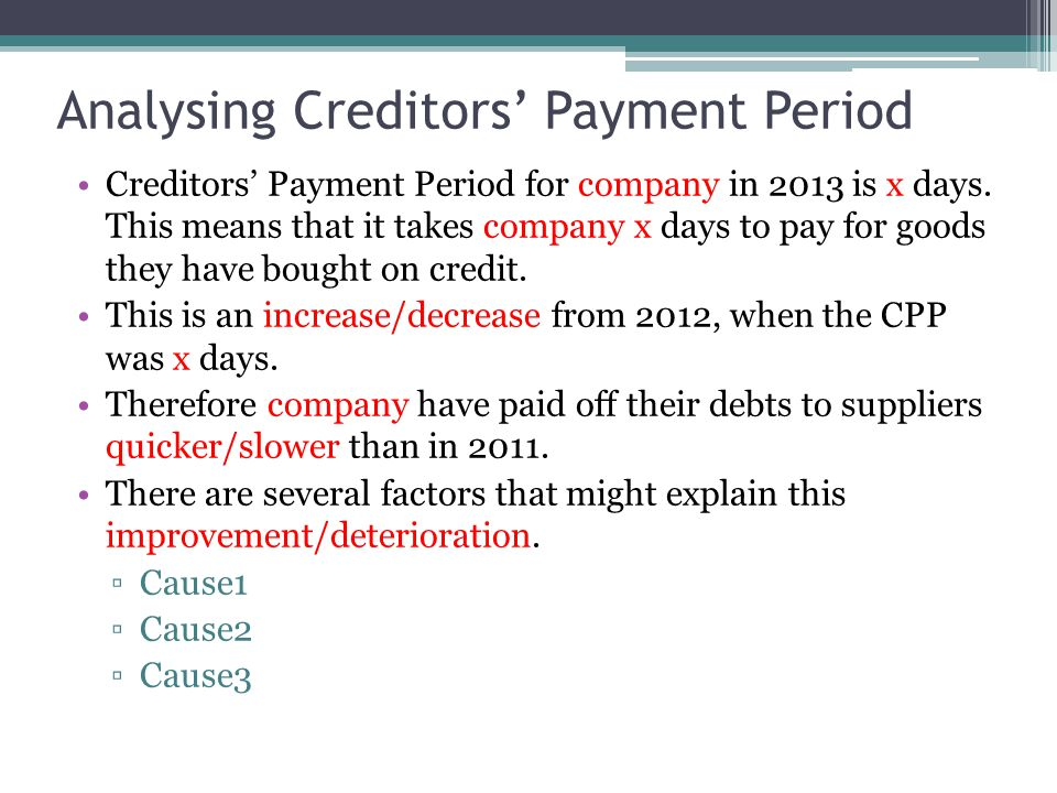 Analysing Creditors' Payment Period
