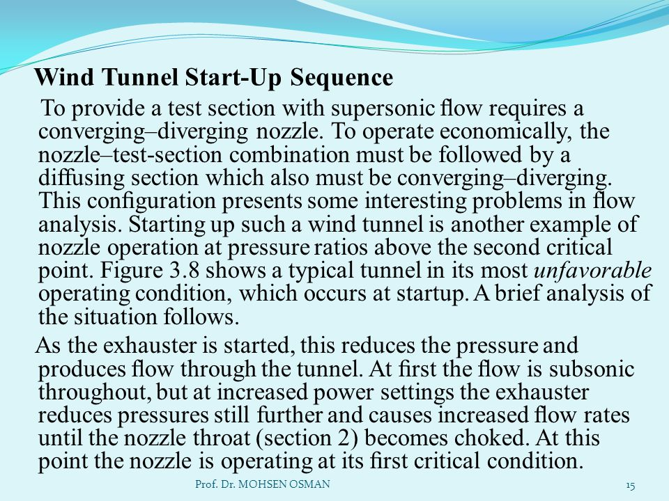 Wind Tunnel Start-Up Sequence