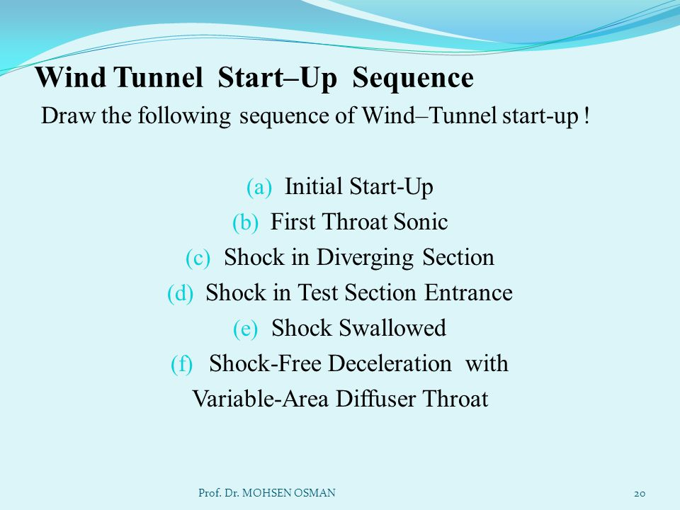 Wind Tunnel Start–Up Sequence