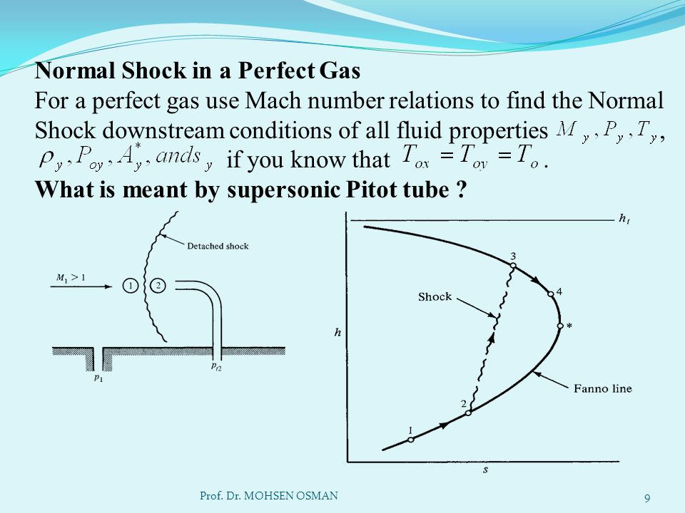 Normal Shock in a Perfect Gas For a perfect gas use Mach number relations to find the Normal Shock downstream conditions of all fluid properties , if you know that . What is meant by supersonic Pitot tube