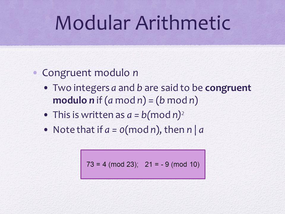 Modular Arithmetic Congruent modulo n