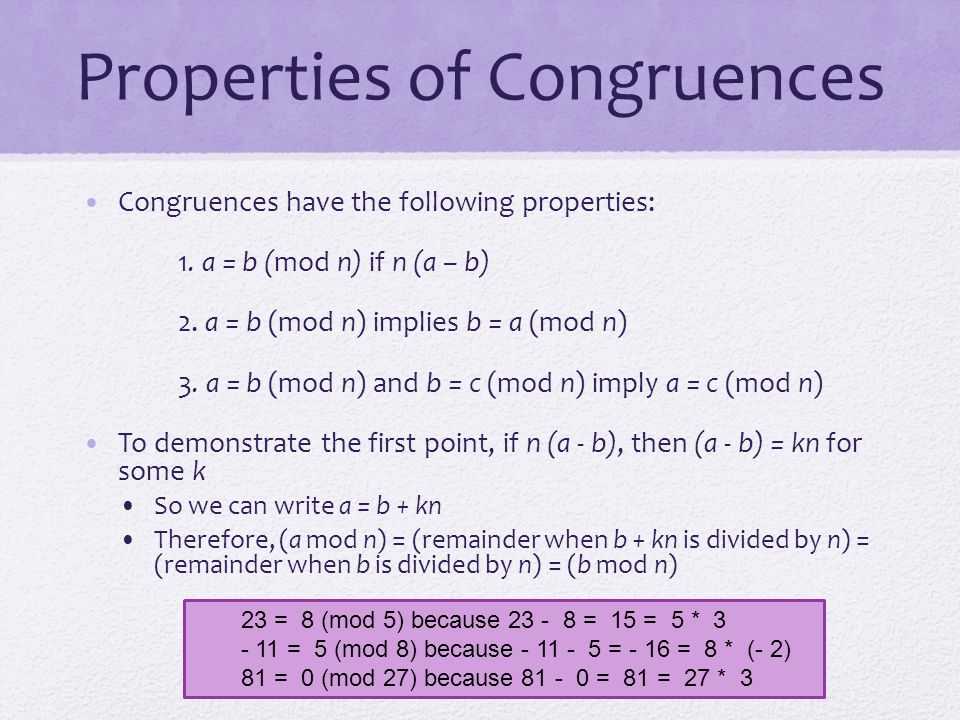 Properties of Congruences