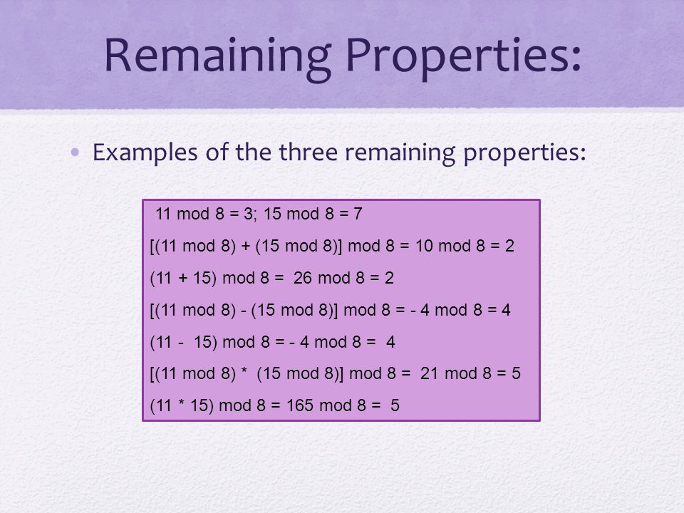 Remaining Properties: