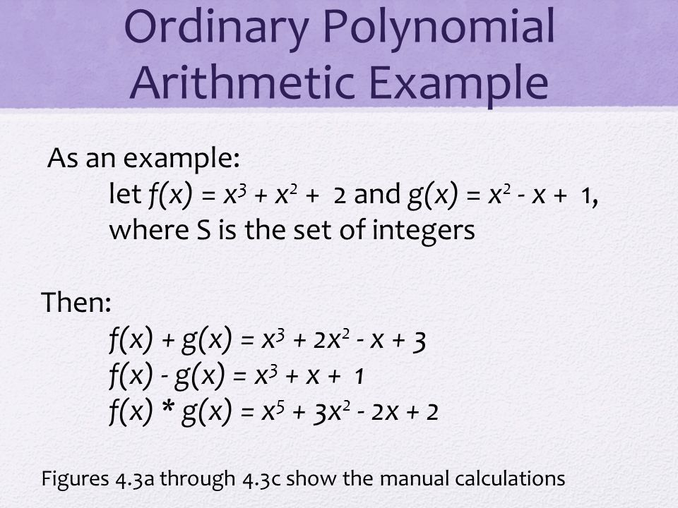 Ordinary Polynomial Arithmetic Example