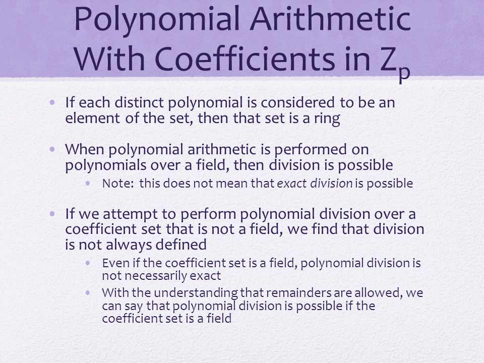 Polynomial Arithmetic With Coefficients in Zp
