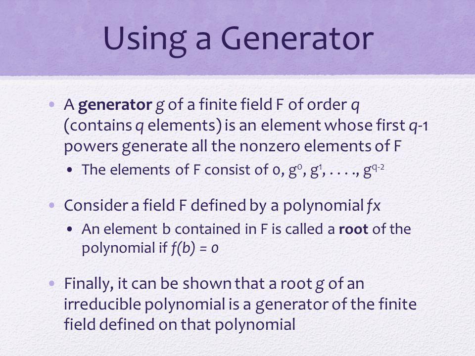 Using a Generator