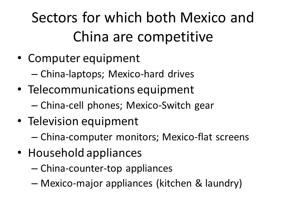 Sectors for which both Mexico and China are competitive