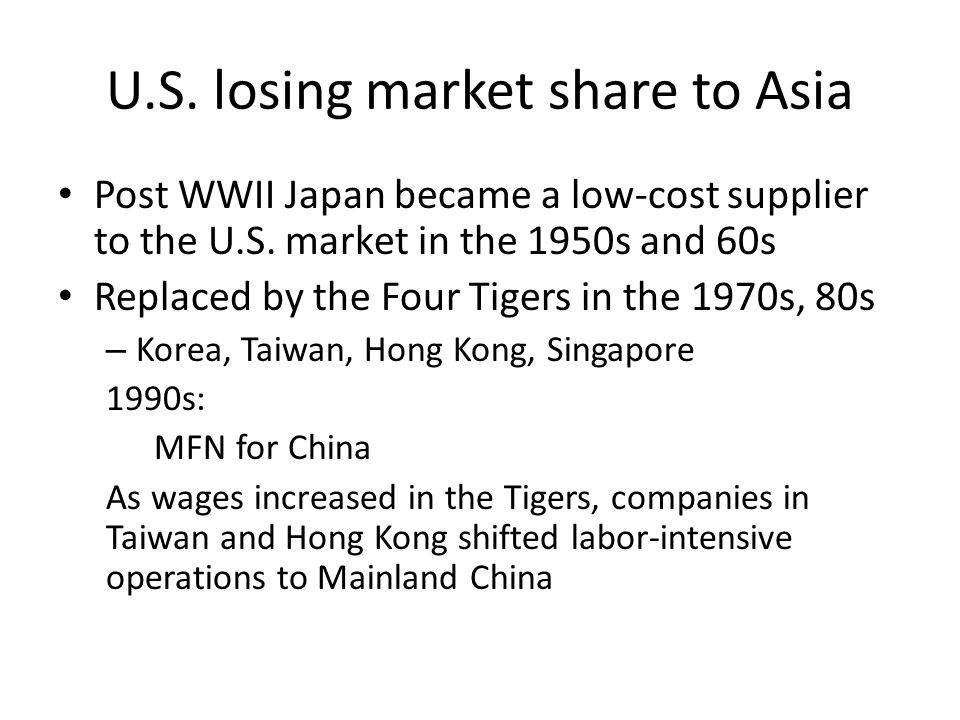 U.S. losing market share to Asia