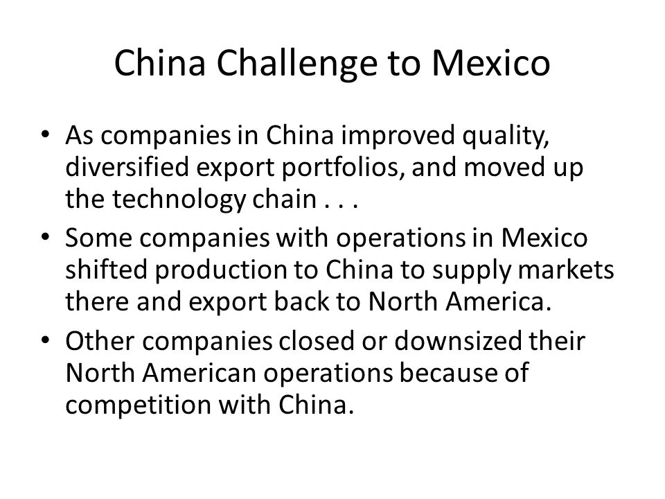 China Challenge to Mexico