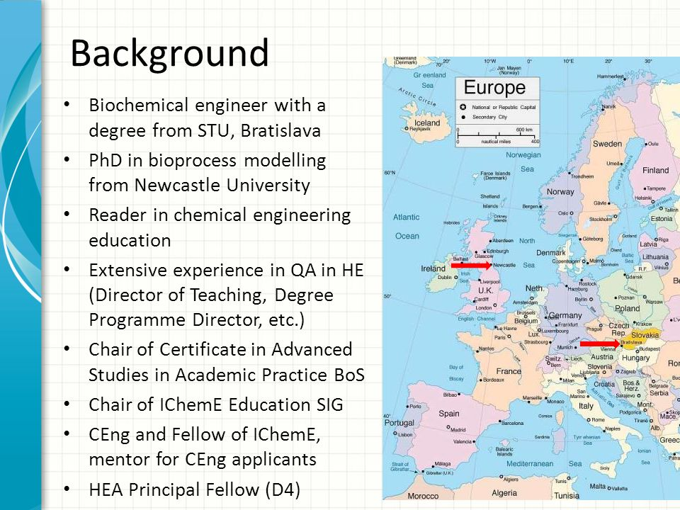 Background Biochemical engineer with a degree from STU, Bratislava