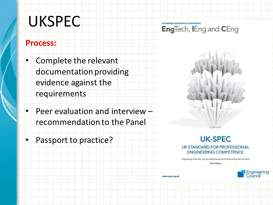 UKSPEC Process: Complete the relevant documentation providing evidence against the requirements.