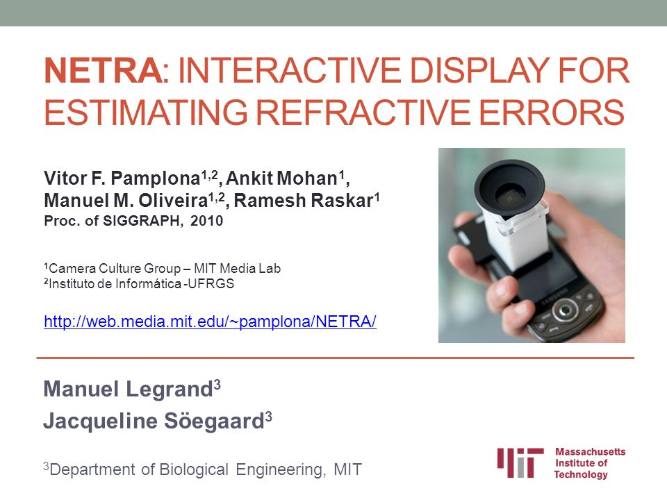 NETRA: Interactive Display for Estimating Refractive Errors