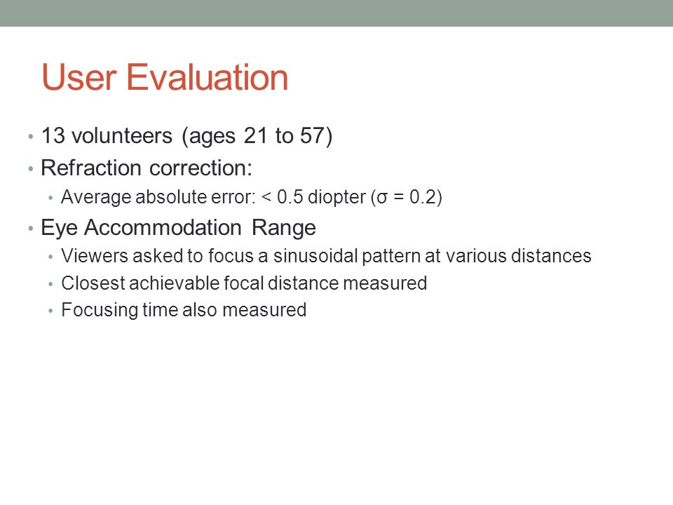 User Evaluation 13 volunteers (ages 21 to 57) Refraction correction: