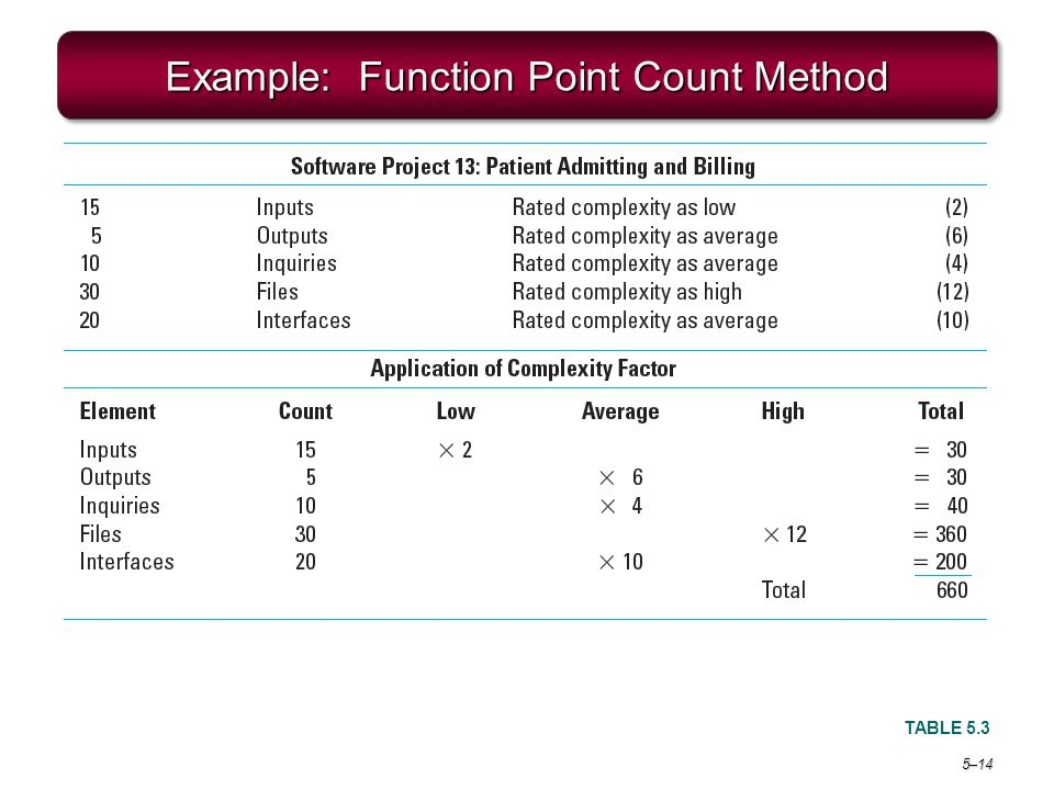 Example: Function Point Count Method