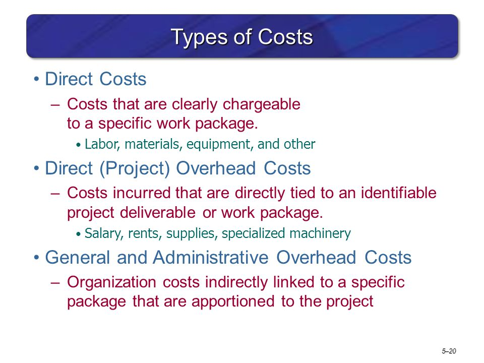Types of Costs Direct Costs Direct (Project) Overhead Costs