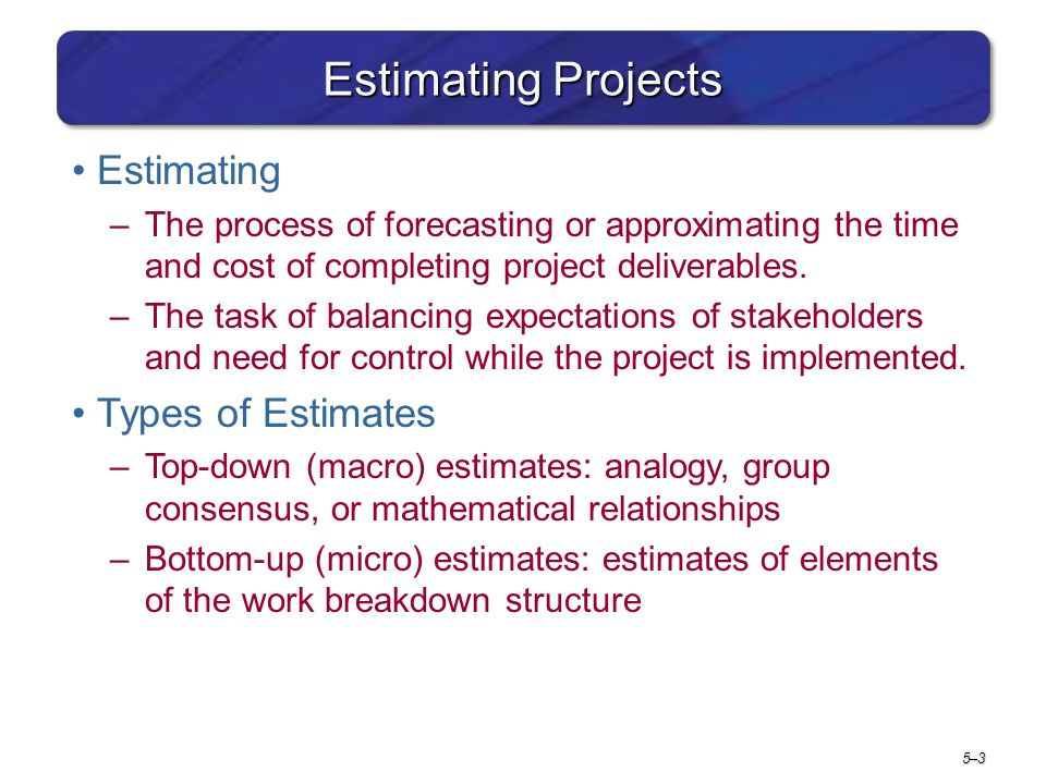 Estimating Projects Estimating Types of Estimates
