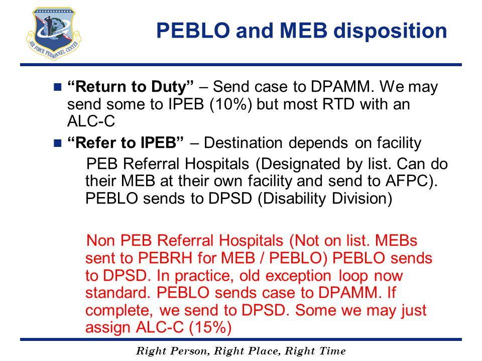 PEBLO and MEB disposition