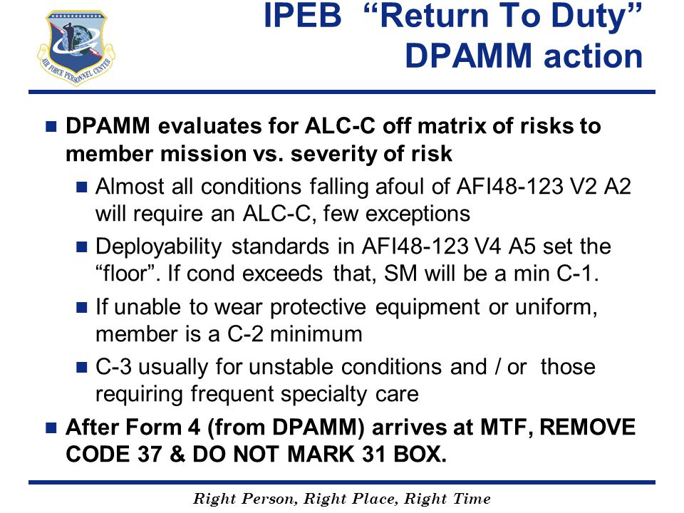 IPEB Return To Duty DPAMM action