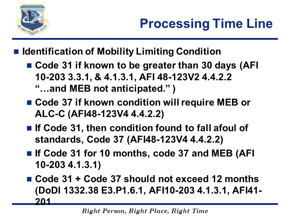 Processing Time Line Identification of Mobility Limiting Condition