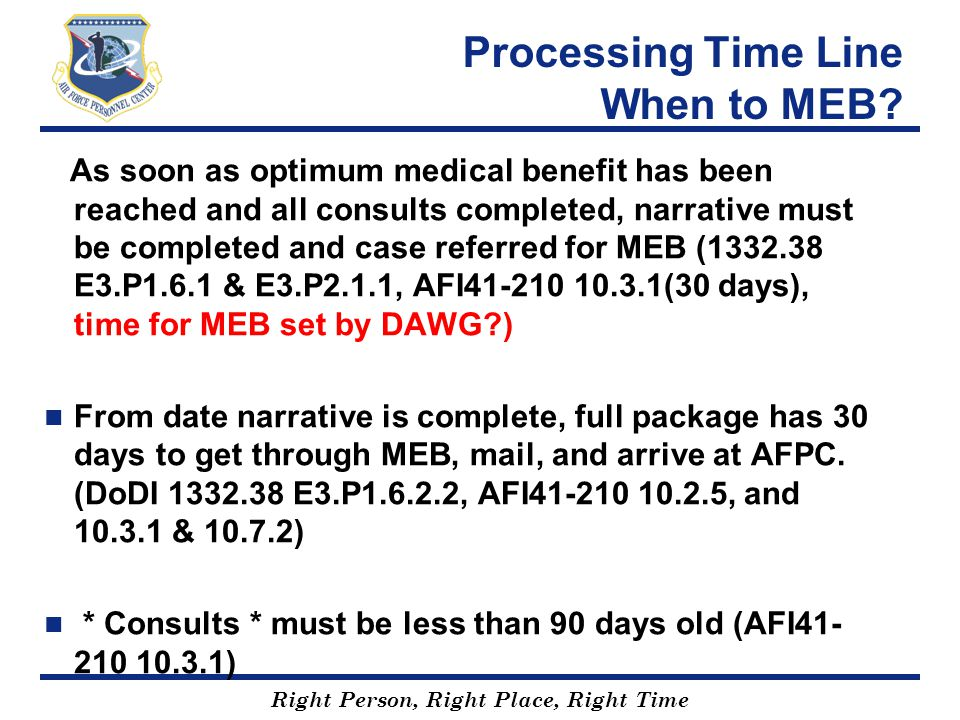 Processing Time Line When to MEB